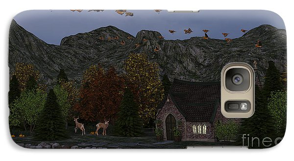 Galaxy Case featuring the digital art Country Church Autumn At Twilight by Methune Hively