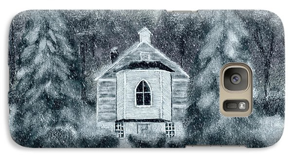 Galaxy Case featuring the digital art Country Church On A Snowy Night by Lois Bryan