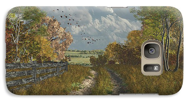 Galaxy Case featuring the digital art Country Lane In Fall by Jayne Wilson