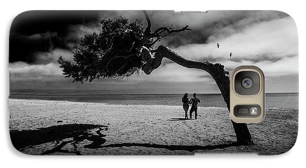 Galaxy Case featuring the photograph Couple On Cabrillo Beach By Los Angeles California by Randall Nyhof