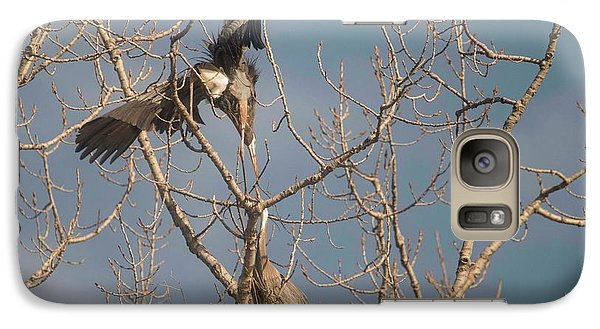 Galaxy Case featuring the photograph Courtship Ritual Of The Great Blue Heron by David Bearden