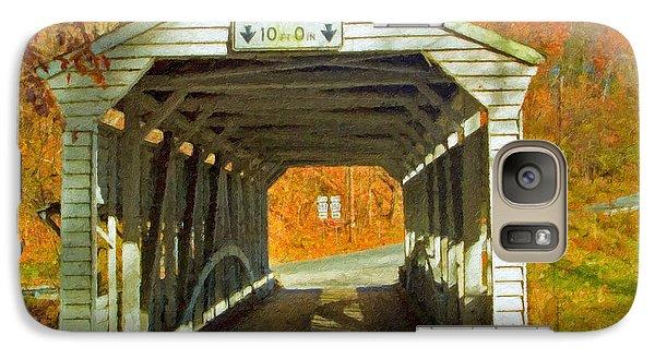 Galaxy Case featuring the photograph Covered Bridge Impasto Oil by David Zanzinger