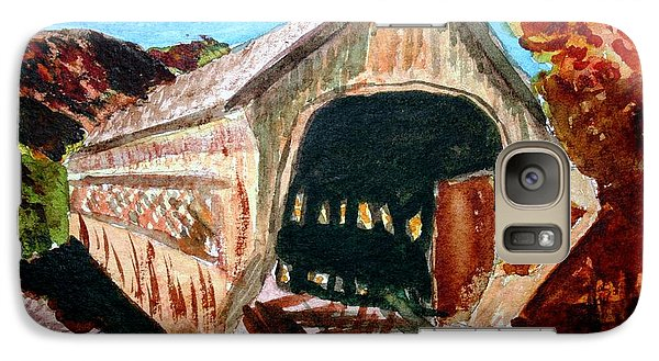 Galaxy Case featuring the painting Covered Bridge Woodstock Vt by Donna Walsh