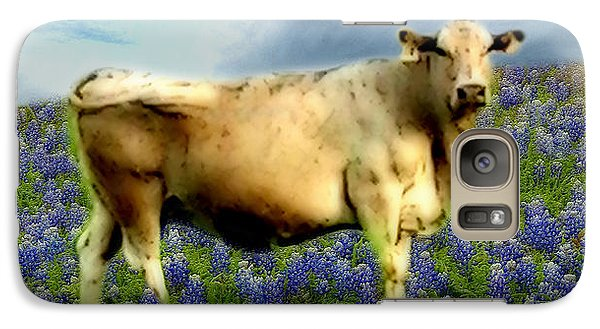 Galaxy Case featuring the photograph Cow And Bluebonnets by Barbara Tristan