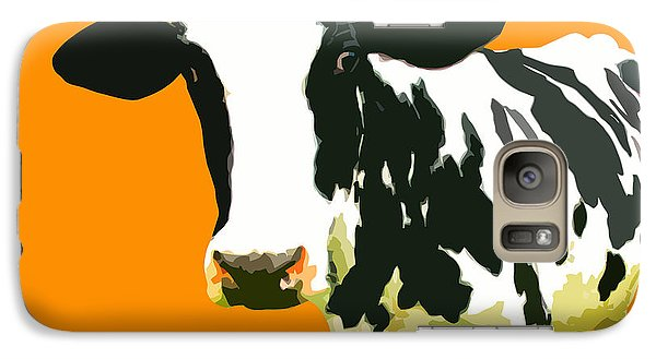 Cow In Orange World Galaxy S7 Case by Peter Oconor