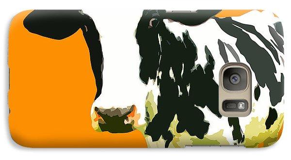 Cow In Orange World Galaxy S7 Case by Peter Oconor