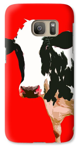 Cow Galaxy S7 Case - Cow In Red World by Peter Oconor