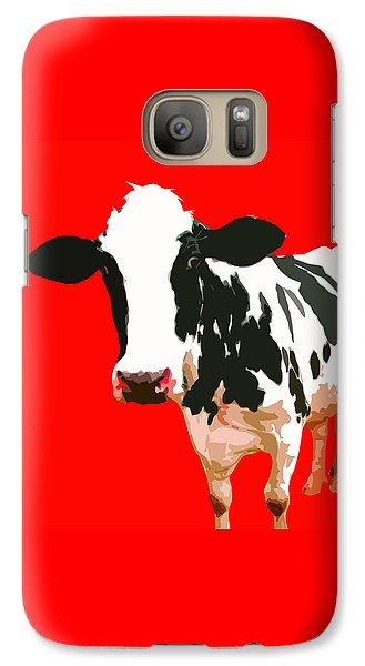 Cow In Red World Galaxy S7 Case by Peter Oconor