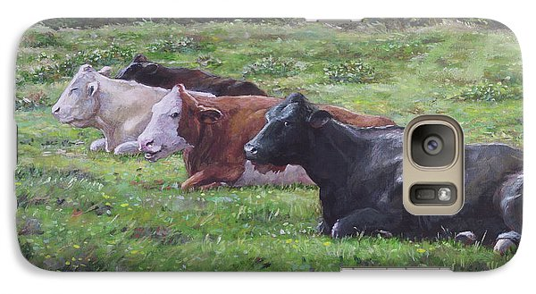 Galaxy Case featuring the painting Cow Line Up In Field by Martin Davey