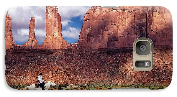 Galaxy Case featuring the photograph Cowboy And Three Sisters by William Lee
