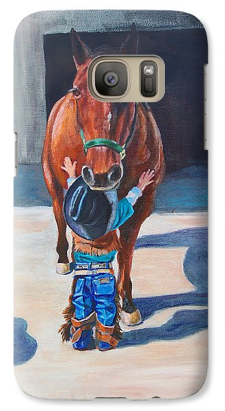 Galaxy Case featuring the painting Cowboy's First Love by Karen Kennedy Chatham