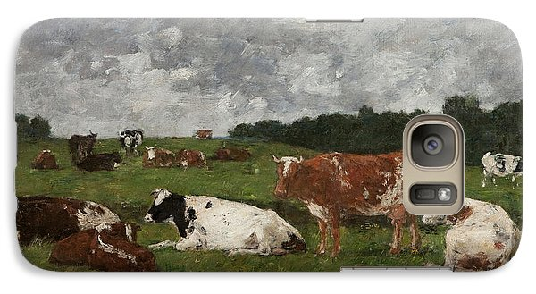 Cows At The Pasture Galaxy S7 Case by Eugene Louis Boudin