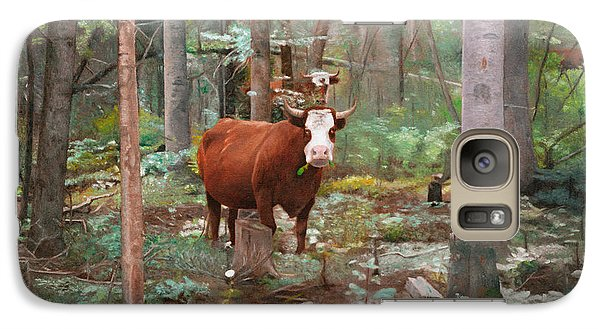 Galaxy Case featuring the painting Cows In The Woods by Joshua Martin