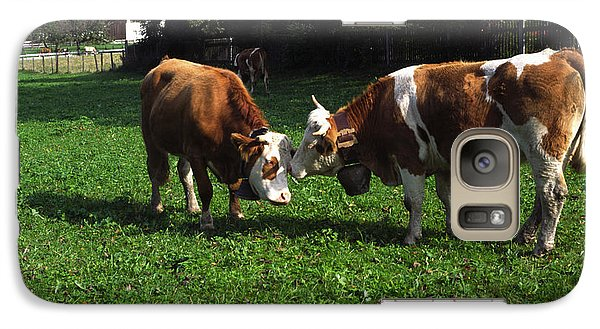 Galaxy Case featuring the photograph Cows Nuzzling by Sally Weigand