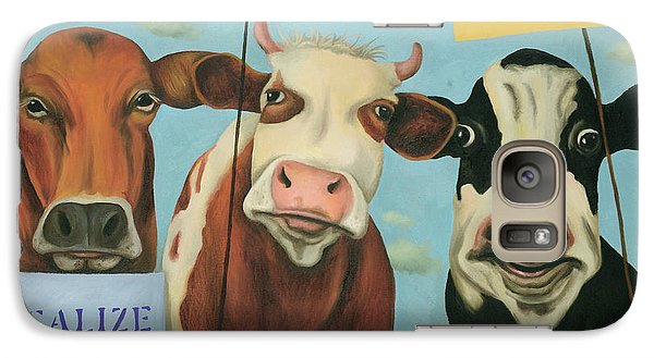Galaxy Case featuring the painting Cows On Strike by Leah Saulnier The Painting Maniac