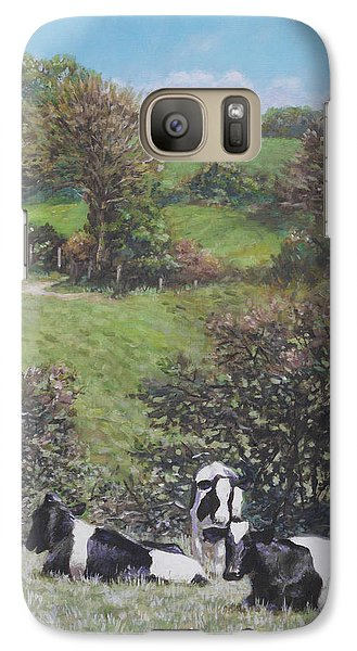 Galaxy Case featuring the painting Cows Sitting By Hill Relaxing by Martin Davey