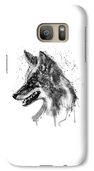 Galaxy Case featuring the mixed media Coyote Head Black And White by Marian Voicu