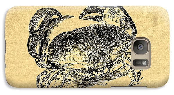 Galaxy Case featuring the drawing Crab Vintage by Edward Fielding