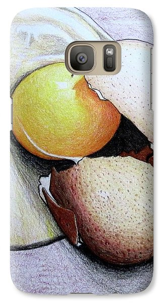 Galaxy Case featuring the drawing Cracked Egg by Mary Ellen Frazee
