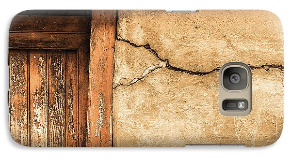 Galaxy Case featuring the photograph Cracked Lime Stone Wall And Detail Of An Old Wooden Door by Semmick Photo