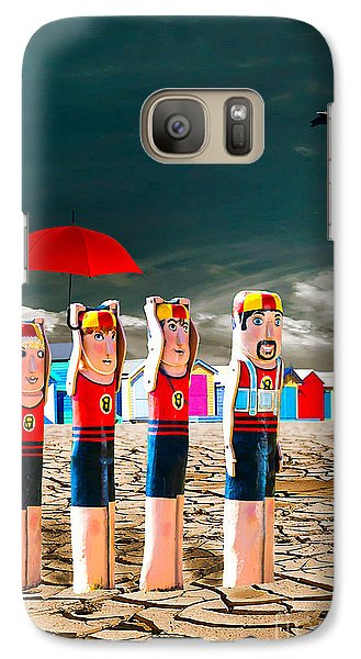 Galaxy Case featuring the photograph Cracked V - The Life Guards by Chris Armytage