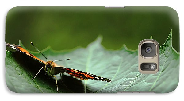 Galaxy Case featuring the photograph Cradled Painted Lady by Debbie Oppermann
