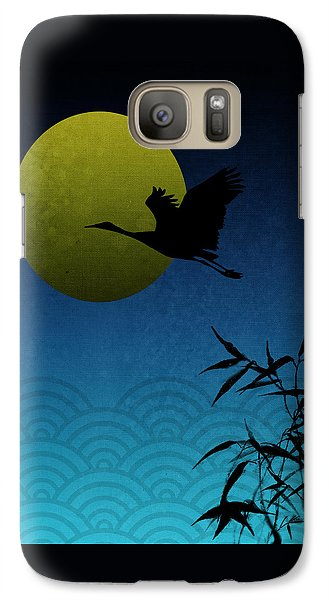 Galaxy Case featuring the digital art Crane And Yellow Moon by Christina Lihani