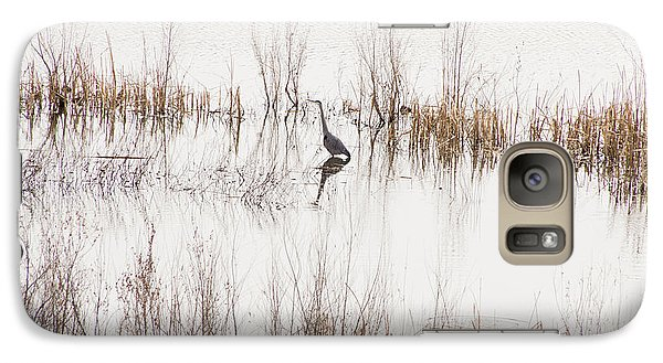 Galaxy Case featuring the photograph Crane In Reeds by Laura Pratt