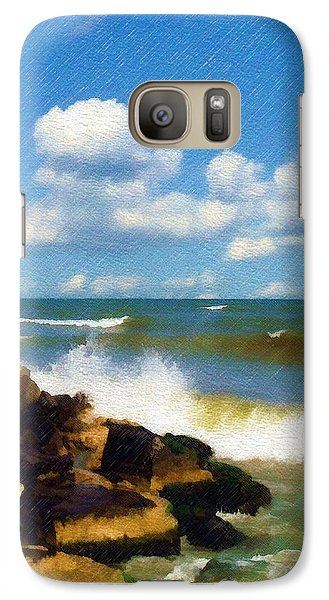 Galaxy Case featuring the photograph Crashing Into Shore by Sandy MacGowan
