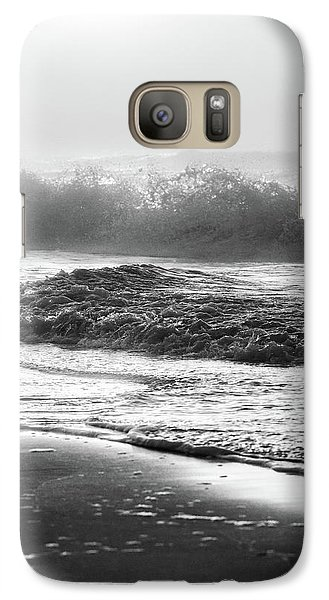 Galaxy Case featuring the photograph Crashing Wave At Beach Black And White  by John McGraw