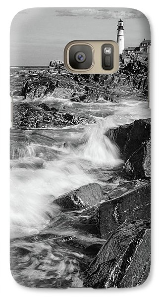 Galaxy Case featuring the photograph Crashing Waves, Portland Head Light, Cape Elizabeth, Maine  -5605 by John Bald