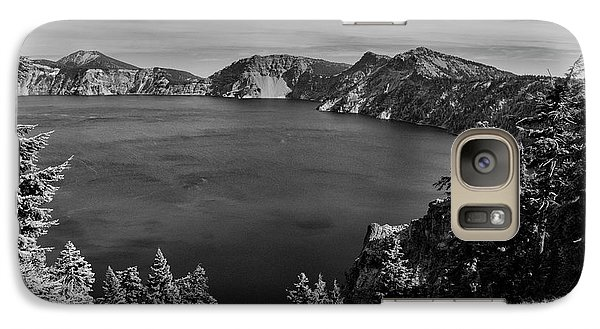 Galaxy Case featuring the photograph Crater Lake View In Bw by Frank Wilson