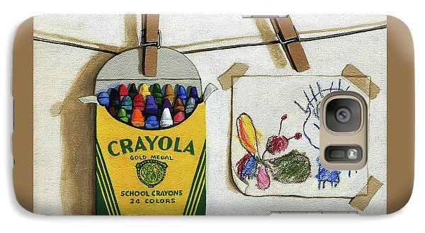 Galaxy Case featuring the painting Crayola Crayons And Drawing Realistic Still Life Painting by Linda Apple