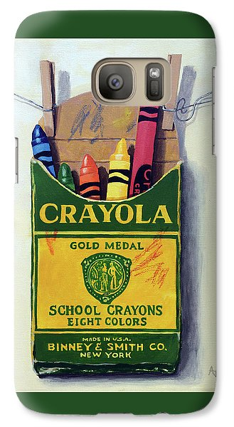 Galaxy Case featuring the painting Crayola Crayons Painting by Linda Apple