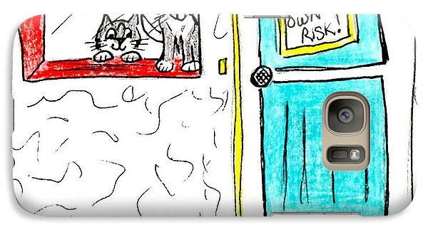 Galaxy Case featuring the painting Crazy Cat Lady 0005 by Lou Belcher