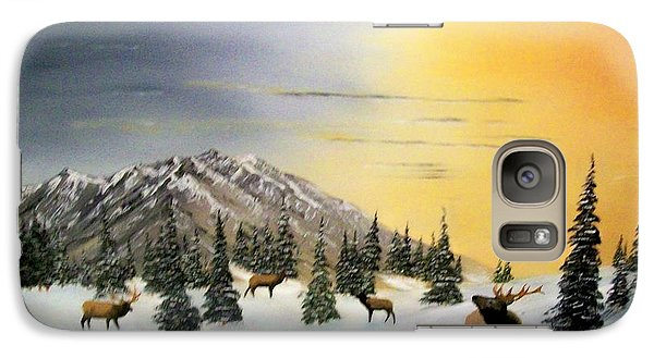 Galaxy Case featuring the painting Crazy Mountains Sunset by Al  Johannessen