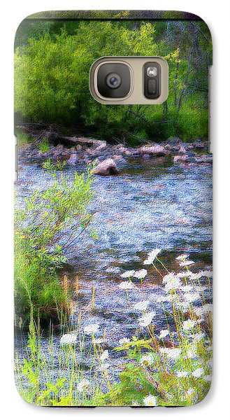 Galaxy Case featuring the photograph Creek Daisys by Susan Kinney