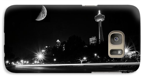 Galaxy Case featuring the photograph Crescent Moon Over Niagara Falls City Mono by Charline Xia