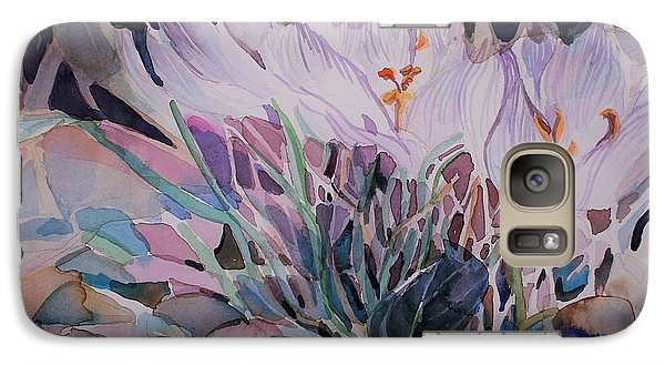 Galaxy Case featuring the painting Crocuses by Mindy Newman