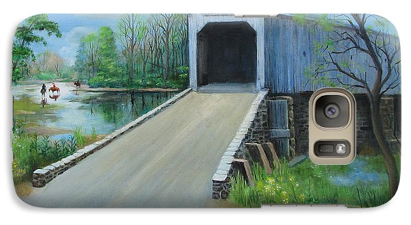 Galaxy Case featuring the painting Crossing At The Covered Bridge by Oz Freedgood