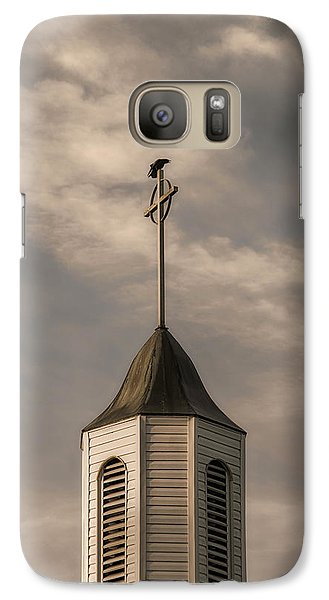 Galaxy Case featuring the photograph Crow On Steeple by Richard Rizzo