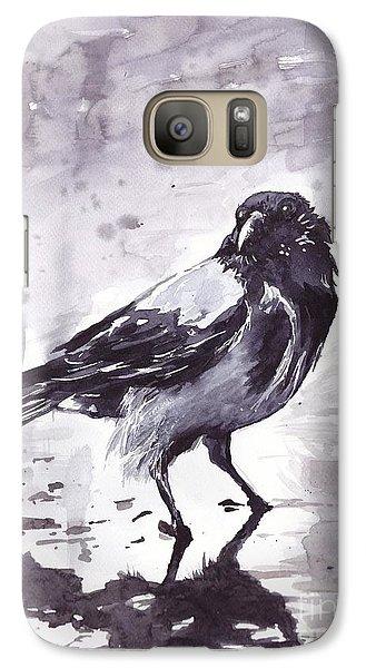 Sparrow Galaxy S7 Case - Crow Watercolor by Suzann's Art