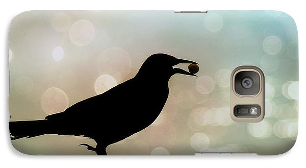 Galaxy Case featuring the photograph Crow With Pistachio by Benanne Stiens