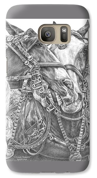 Galaxy Case featuring the drawing Crowd Pleasers - Clydesdale Draft Horse Art Print by Kelli Swan