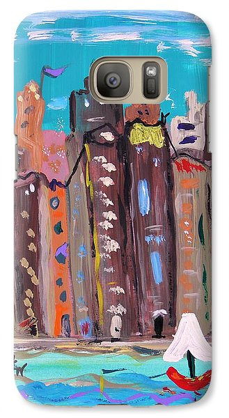 Galaxy Case featuring the painting Crowded By The Sea by Mary Carol Williams