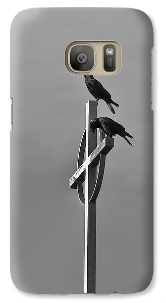 Galaxy Case featuring the photograph Crows On Steeple by Richard Rizzo