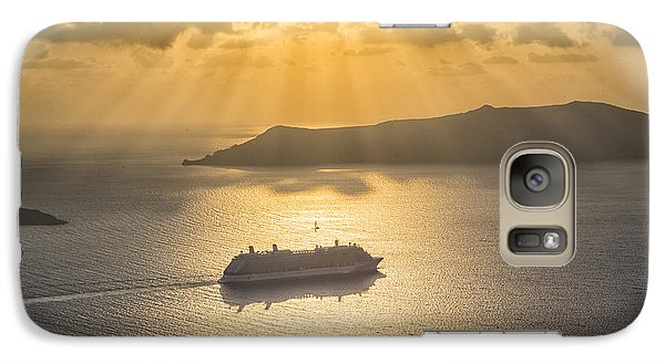 Galaxy Case featuring the tapestry - textile Cruise Ship In Greece by Kathy Adams Clark