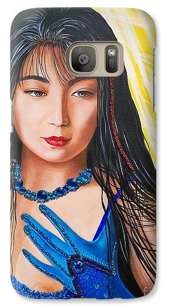 Galaxy Case featuring the mixed media Crystal Blue China Girl by Sigrid Tune