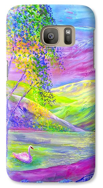 Galaxy Case featuring the painting Crystal Pond, Silver Birch Tree And Swan by Jane Small
