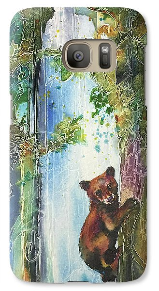 Galaxy Case featuring the painting Cub Bear Climbing by Christy Freeman